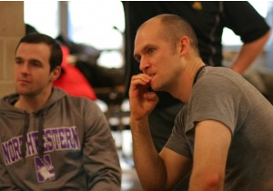 To the left is Matt Smith of Northwestern Medical Group. To the right is Dr. Nate Porcher of Arlington Heights. Nate was a college track athlete and presently works with athletes at Palatine Fremd and Prospect. Here Nate was super-nervous thinking he would be Doug Heel's next subject.
