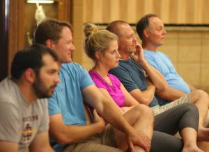 Montini track coach Eric Brechtel, Chris Korfist, Jess Janota, Dr. Eric Janota, and Dr. Tom Nelson.